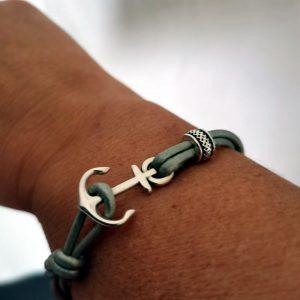 Bracelet ancre marine - Lien cuir rond 2mm