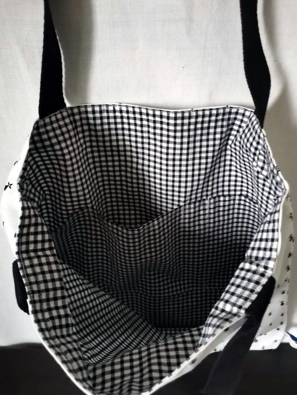 ToteBag BZH (Hermine et Triskell) bandoulière Noire - Coton doublé coton vichy Noir