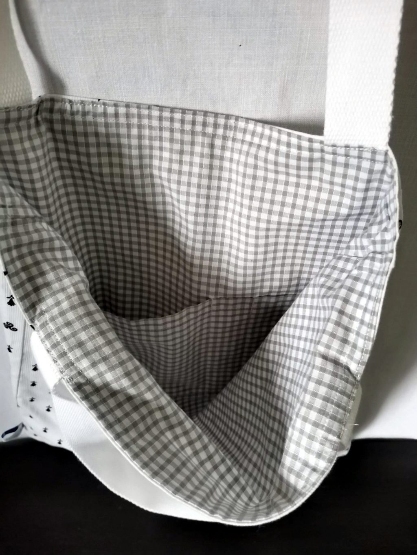 ToteBag BZH (Hermine et Triskell) bandoulière Blanche - Coton doublé coton vichy Gris