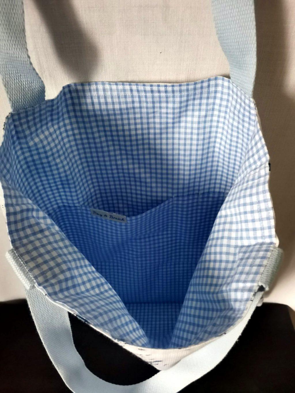 ToteBag Malo bandoulière bleu - Coton doublé coton vichy bleu Ciel