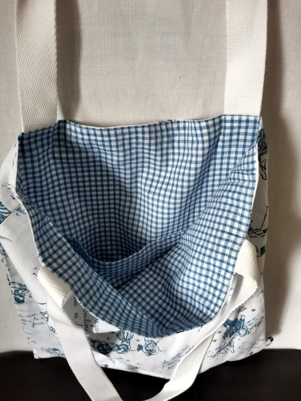 ToteBag Malo bandoulière blanche - Coton doublé coton vichy bleu Roy