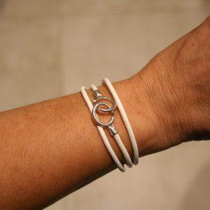 Bracelet 3 tours - lien cuir 3mm