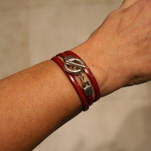 Bracelet 3 tours - lien cuir 5mm